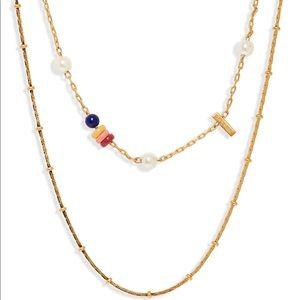 Beaded imitation pearl necklace set by Madewell.